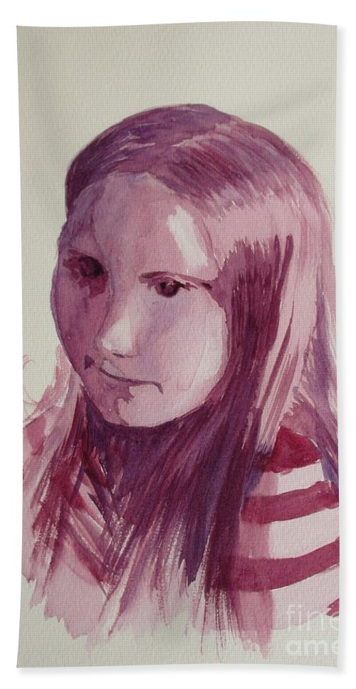 Portrait Beach Towel featuring the painting Portrait In Burgundy by Martin Howard