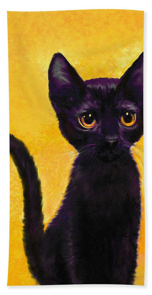 Jane Schnetlage Beach Towel featuring the digital art portrait of a small black cat named LuLu by Jane Schnetlage