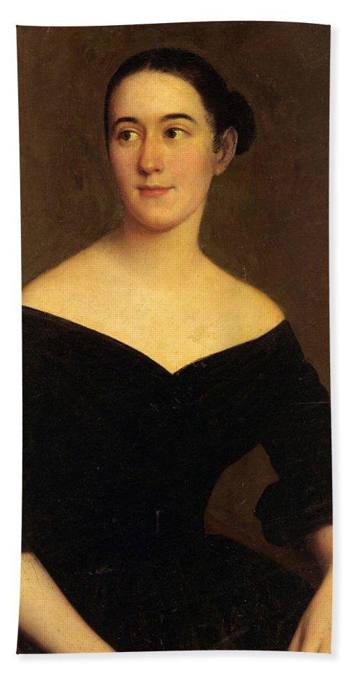Jacques Amans Beach Towel featuring the painting Portrait Of Cornelia Knott Miltenberger by Jacques Amans