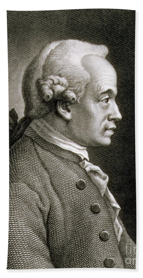 Male; Profile; Wig Beach Towel featuring the drawing Portrait Of Emmanuel Kant by French School
