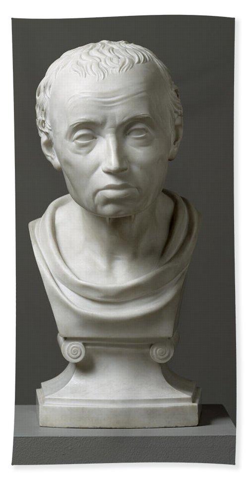 Immanuel; Male; Philosopher; Philosophy; Classical Style; Bust Beach Towel featuring the sculpture Portrait Of Emmanuel Kant by Friedrich Hagemann