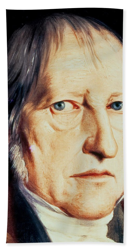 Male; Fur; Collar; Cravat; Quandary; Uncertainty; Philosopher; Academic; Quizzical; Frown; Whiskers; Favoris Beach Towel featuring the painting Portrait Of Georg Wilhelm Friedrich Hegel by Jacob Schlesinger