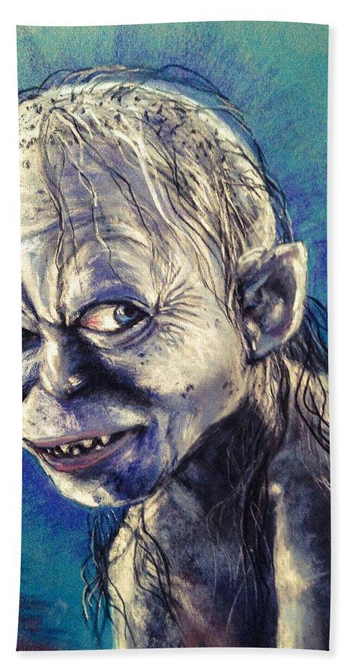 Gollum Beach Sheet featuring the pastel Portrait Of Gollum by Alban Dizdari