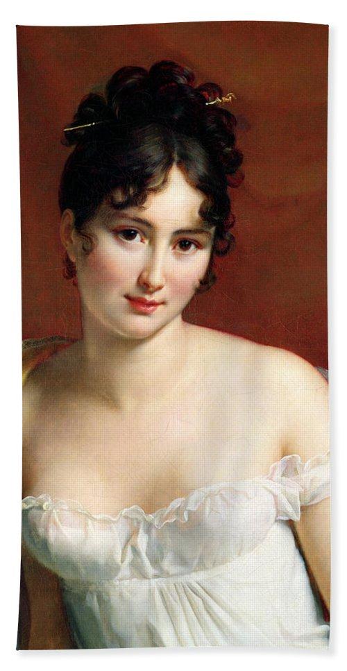 Empire Line Dress Beach Towel featuring the painting Portrait Of Madame Recamier by Francois Pascal Simon Baron Gerard