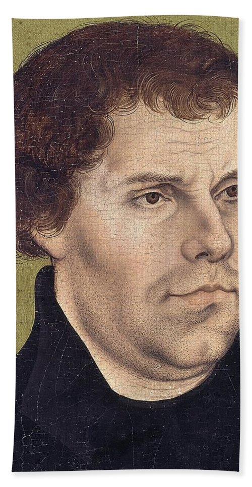 Northern Renaissance; Reformation Beach Towel featuring the painting Portrait Of Martin Luther Aged 43 by Lucas Cranach