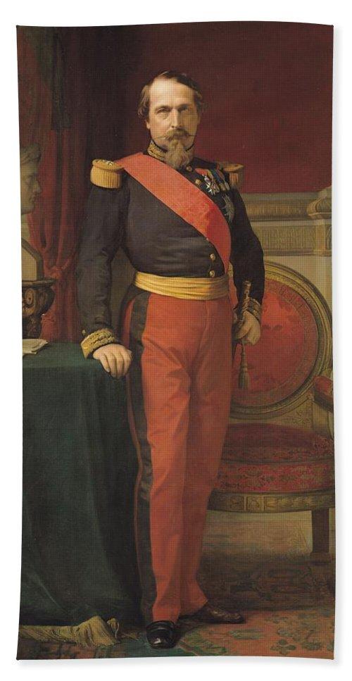 Louis Napoleon Bonaparte Beach Towel featuring the photograph Portrait Of Napoleon IIi 1808-73 1862 Oil On Canvas by Hippolyte Flandrin