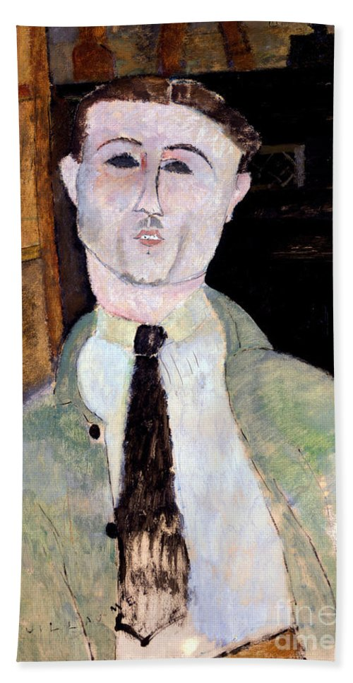 Modigliani Beach Towel featuring the painting Portrait Of Paul Guillaume by Amedeo Modigliani