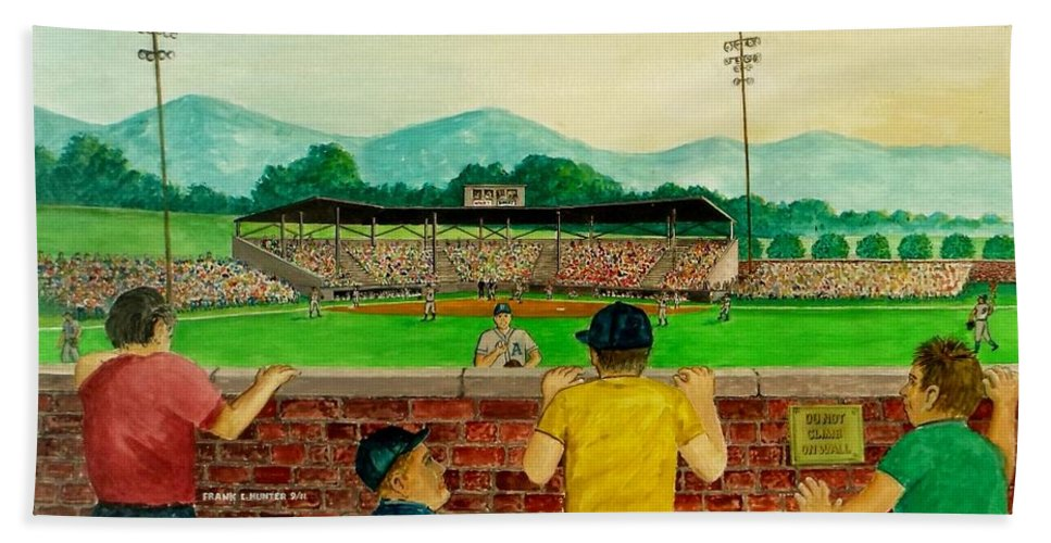 Baseball Stadium Portsmouth Ohio Athletics Munci Reds Kids Looking Wall Climbing Crown Hills Sign Beach Towel featuring the painting Portsmouth Athletics Vs Muncie Reds 1948 by Frank Hunter