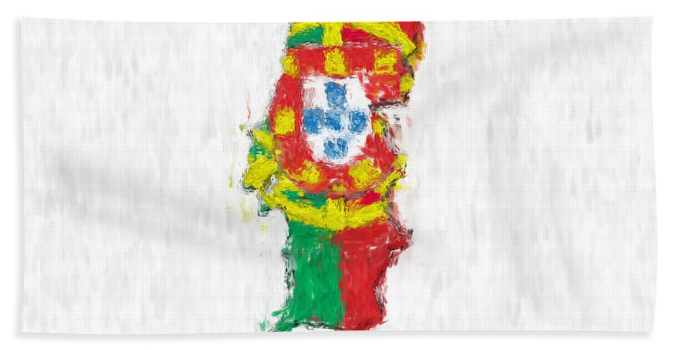 Portugal Beach Towel featuring the photograph Portugal Painted Flag Map by Antony McAulay