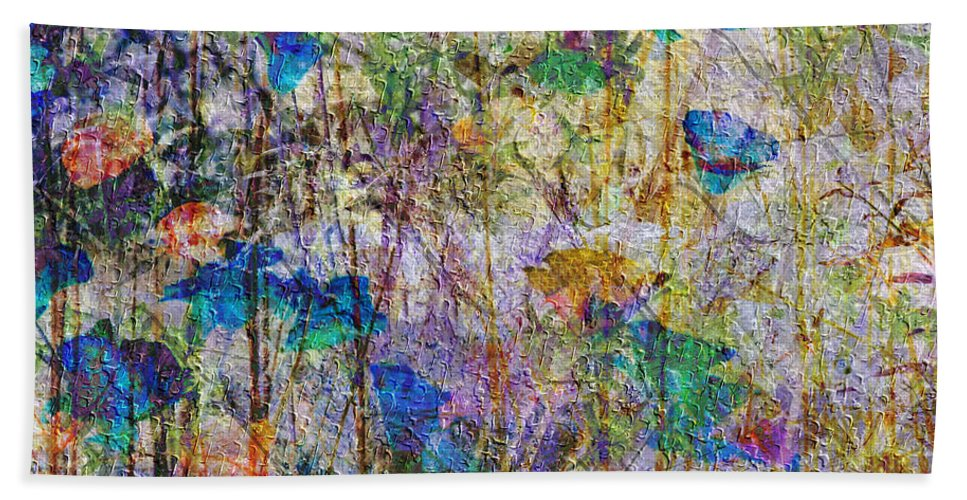 Posies In The Grass Beach Towel featuring the mixed media Posies In The Grass by Kiki Art