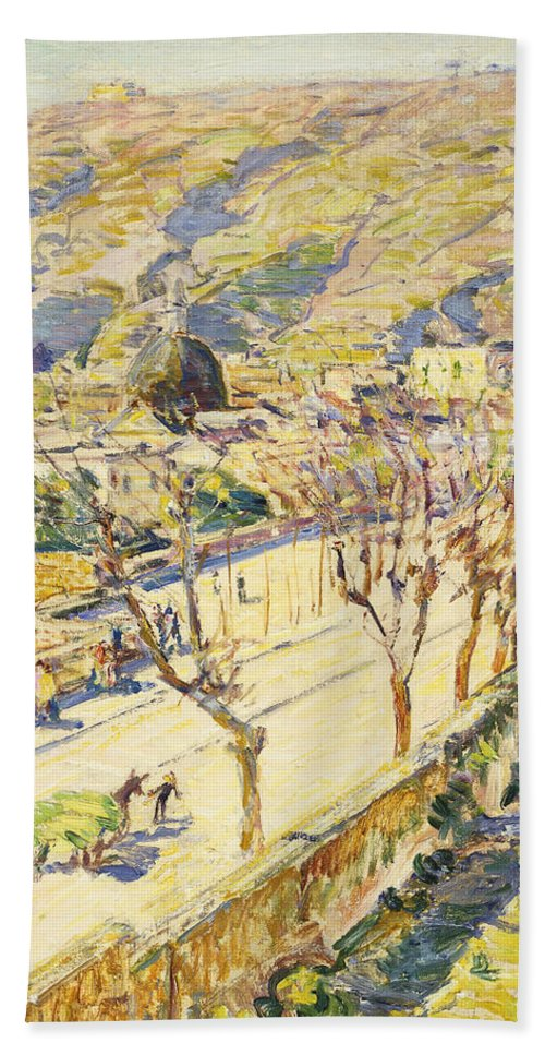 Agricultural; Peasant Beach Towel featuring the painting Posillipo by Childe Hassam