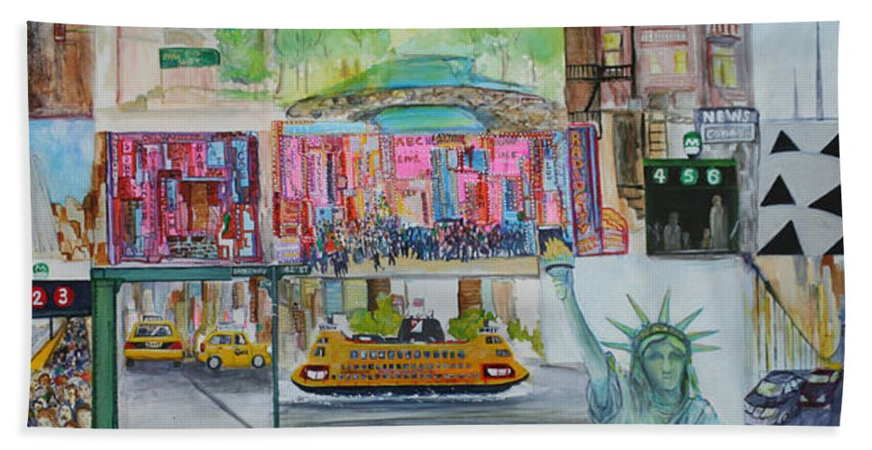 New York Beach Towel featuring the painting Postcards From New York City by Jack Diamond