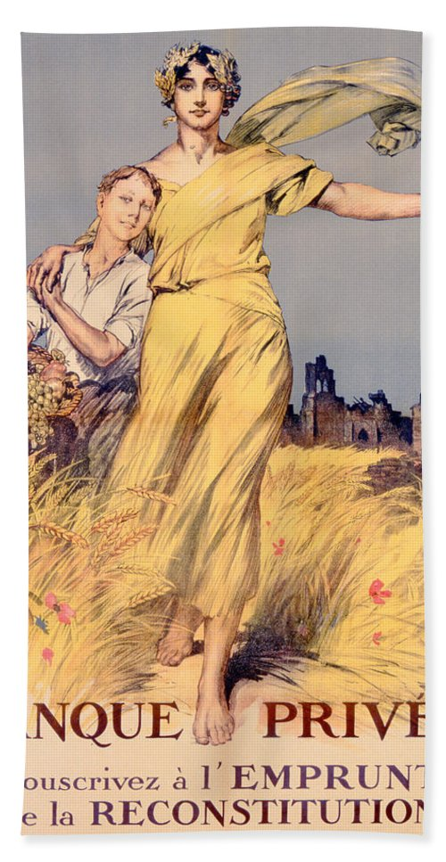 World War One Beach Towel featuring the painting Poster Advertising The National Loan by Rene Lelong