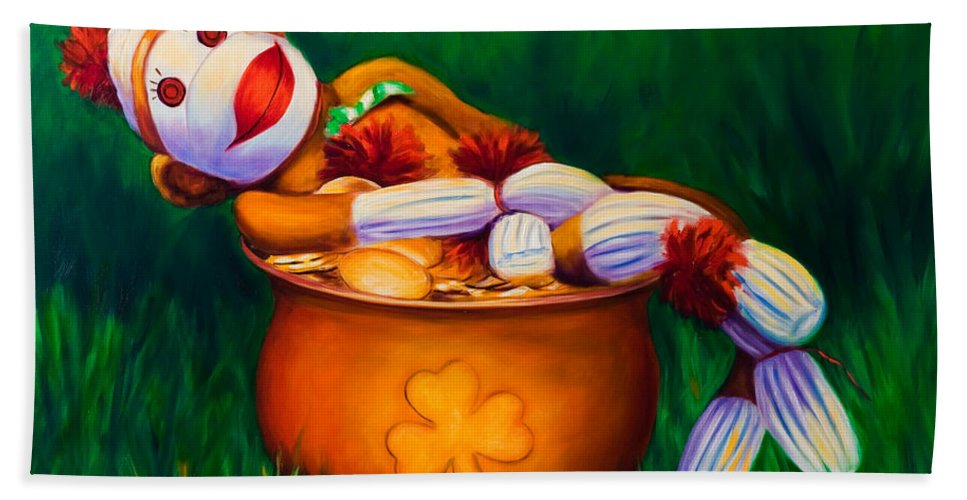 St. Patrick's Day Beach Towel featuring the painting Pot O Gold by Shannon Grissom