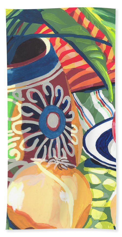 Clay Pot Beach Towel featuring the painting Pot With Onions by Melinda Patrick