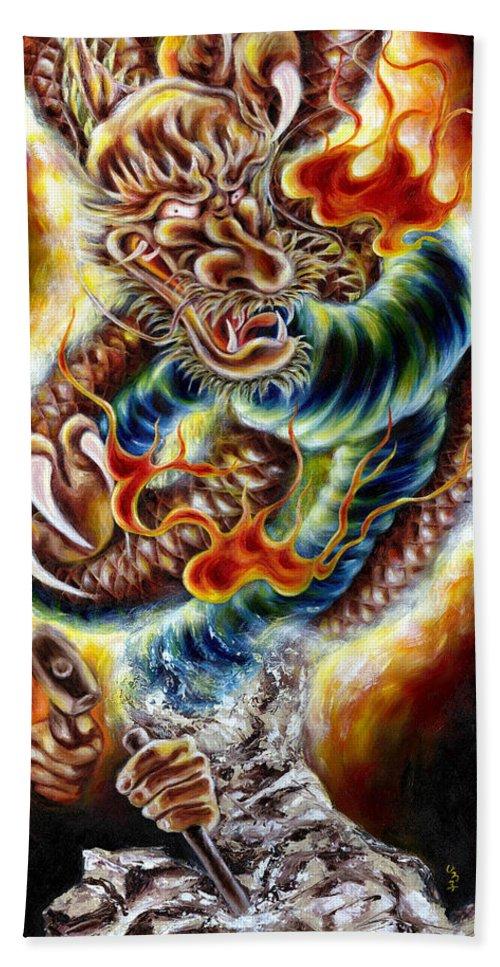 Caving Beach Towel featuring the painting Power of Spirit by Hiroko Sakai