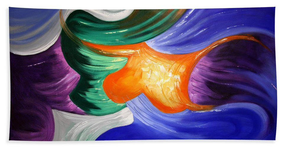 Abstract Beach Towel featuring the painting Praise The Lord by Anthony Falbo