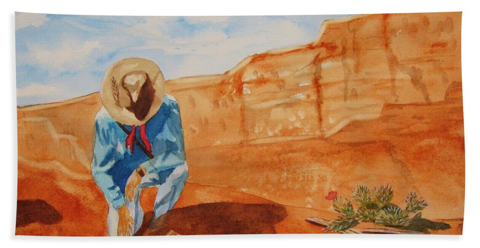 Sedona Beach Towel featuring the painting Prayer For Earth Mother by Ellen Levinson