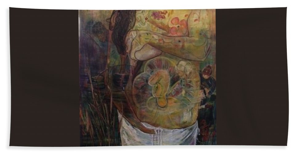 Women With Child Beach Towel featuring the painting Precious by Peggy Blood