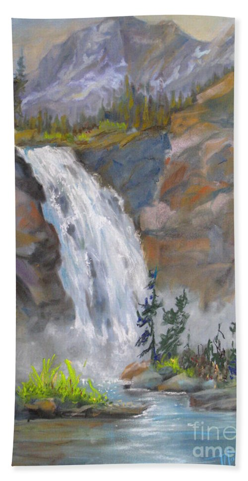 Background Beach Sheet featuring the painting Precipitous Falls by Mohamed Hirji