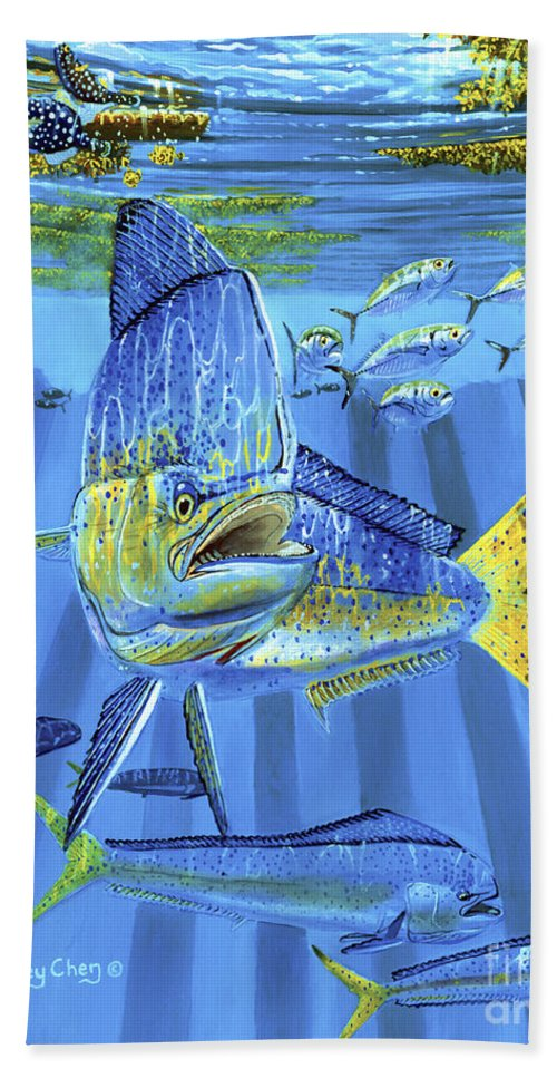 Dolphin Beach Towel featuring the painting Predator Off0067 by Carey Chen