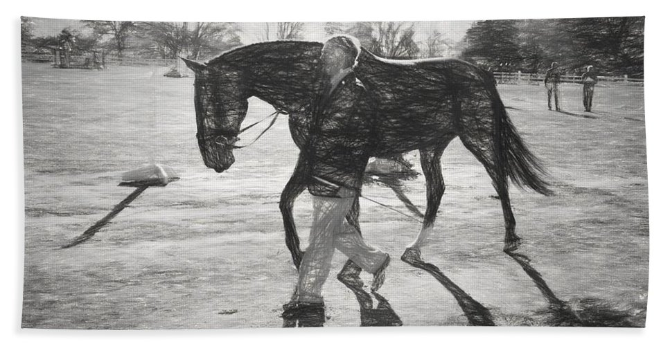 Fairhill International Beach Towel featuring the photograph Presentation In Charcoal by Alice Gipson