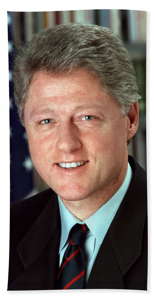 President William J. Clinton. Bill Clinton Beach Towel featuring the digital art President William J. Clinton by Official White House Photograph