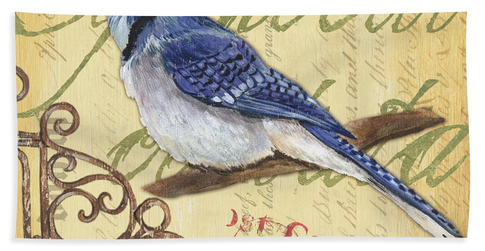 Blue Jay Beach Towel featuring the painting Pretty Bird 4 by Debbie DeWitt
