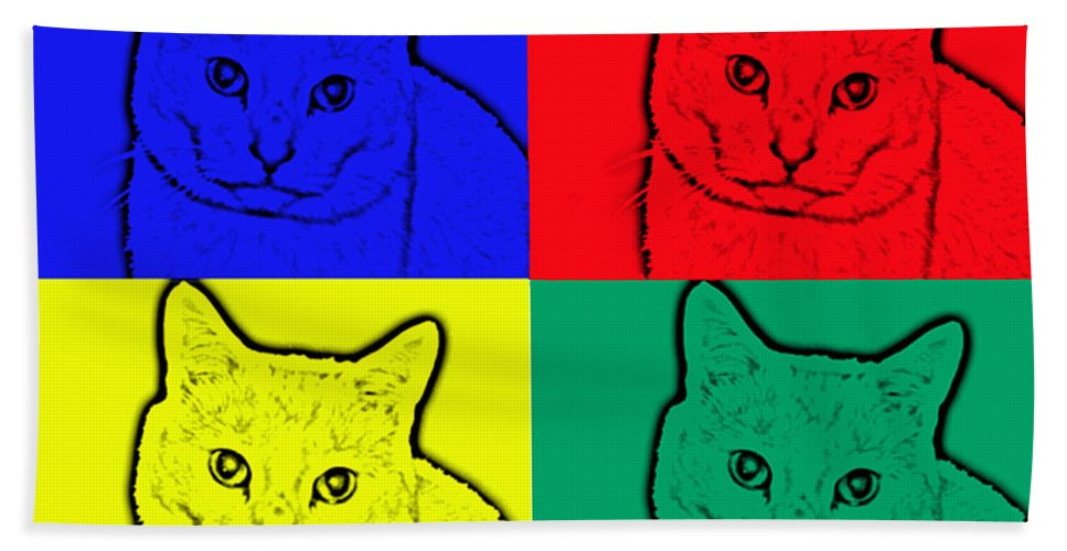 Cats Beach Towel featuring the photograph Primary And Green Cats by Barbara Griffin