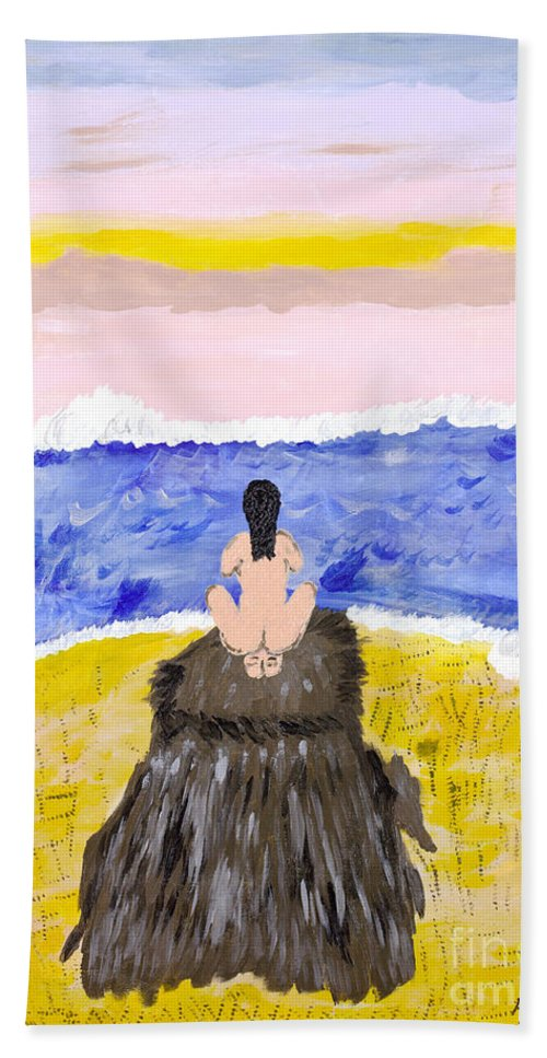 Primitive Beach Towel featuring the painting Primitive Woman Crouching by Robyn Louisell