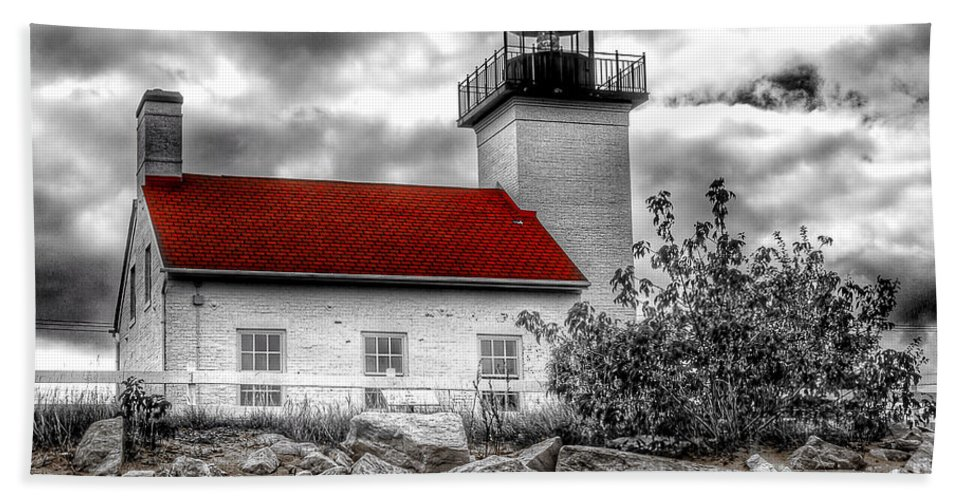 Clouds Beach Towel featuring the photograph Protector Of The Harbor - Sand Point Lighthouse by Nikki Vig