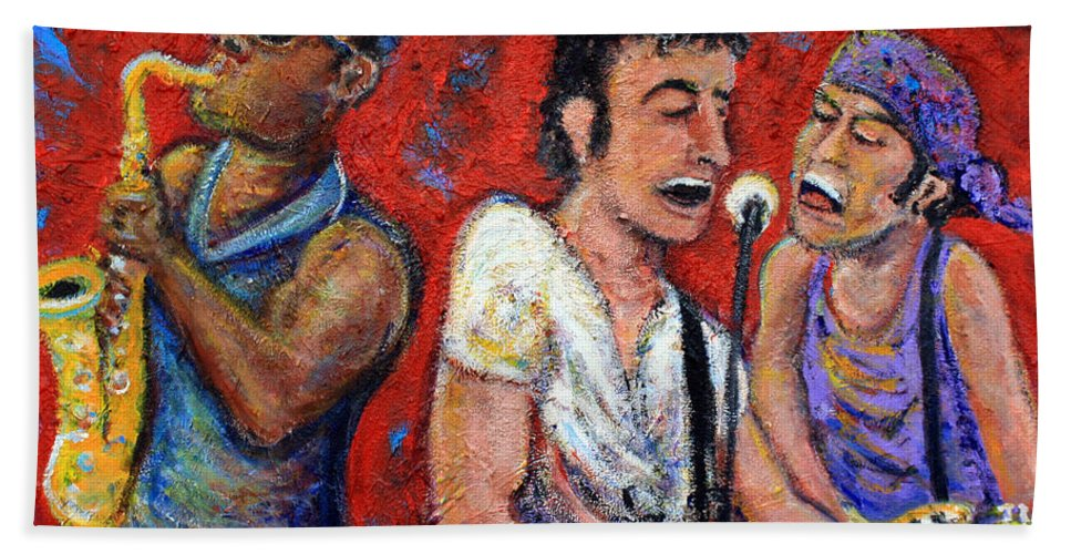 Bruce Springsteen Beach Towel featuring the painting Prove It All Night Bruce Springsteen and The E Street Band by Jason Gluskin