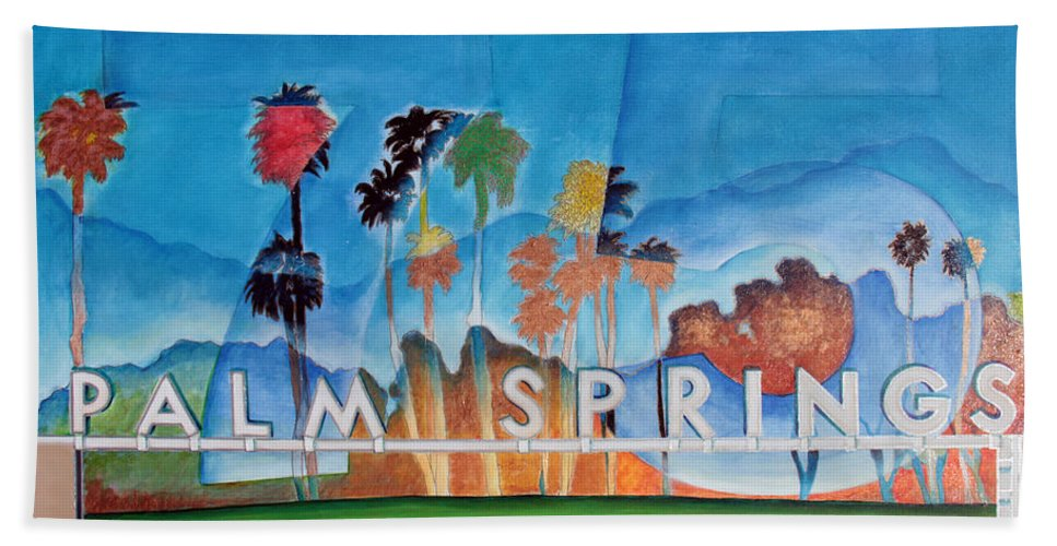 Palm Springs Beach Towel featuring the painting Ps 75 by Gideon Cohn