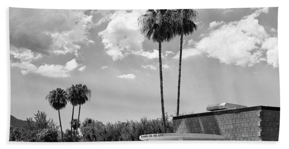 Black An White Beach Towel featuring the photograph Ps City Hall Front Bw Palm Springs by William Dey