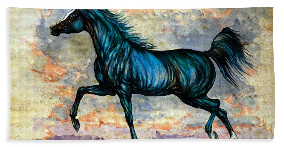 Horse Beach Towel featuring the painting Psychedelic Blue by Angel Ciesniarska