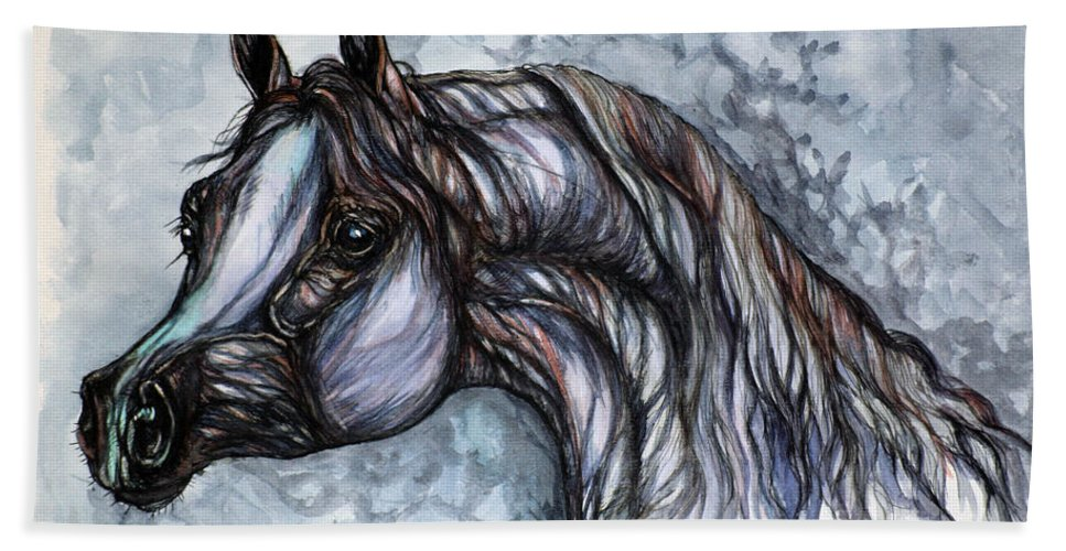 Horse Beach Towel featuring the painting Psychedelic Grey And Blue by Angel Ciesniarska