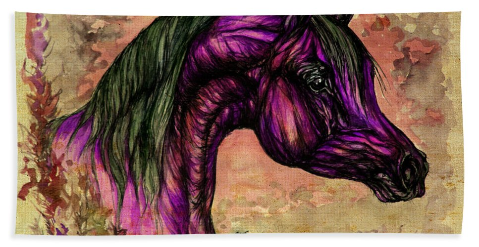 Horse Beach Towel featuring the painting Psychedelic Purple by Angel Ciesniarska