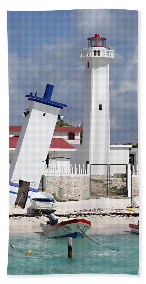 Puerto Morelos Lighthouse Beach Towel featuring the photograph Puerto Morelos Lighthouse by Ellen Henneke