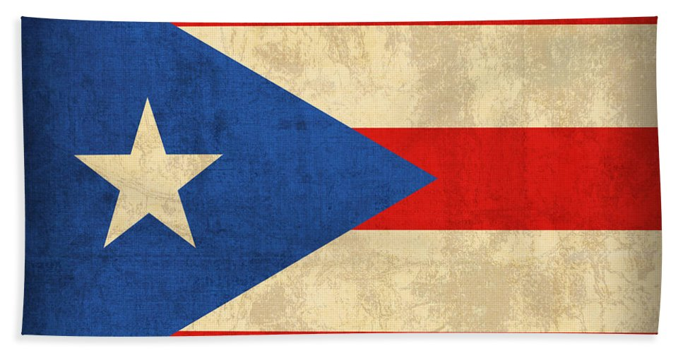 Puerto Beach Towel featuring the mixed media Puerto Rico Flag Vintage Distressed Finish by Design Turnpike