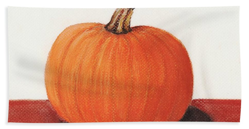 Malakhova Beach Towel featuring the painting Pumpkin by Anastasiya Malakhova