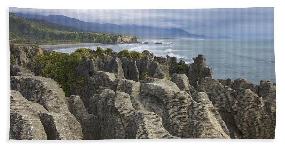 New Zealand Beach Towel featuring the photograph Punakaiki Pancake Rocks by Stuart Litoff