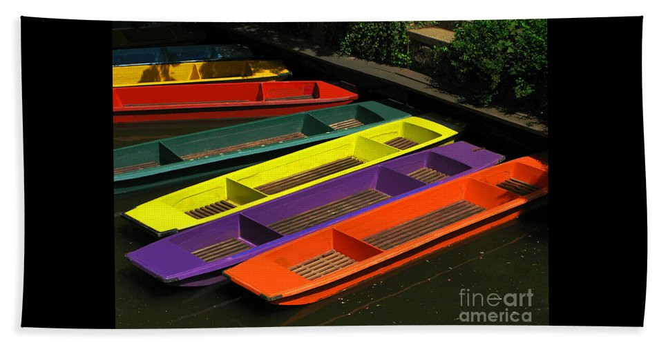 Punts Beach Towel featuring the photograph Punts For Hire by Ann Horn