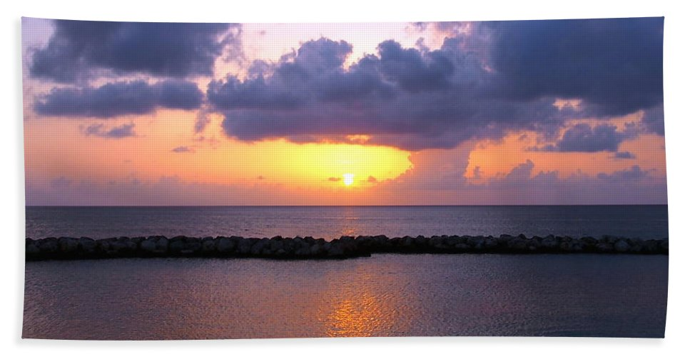 Sunset Beach Towel featuring the photograph Purple And Pink Sunset Caribbean Dream by Amy McDaniel