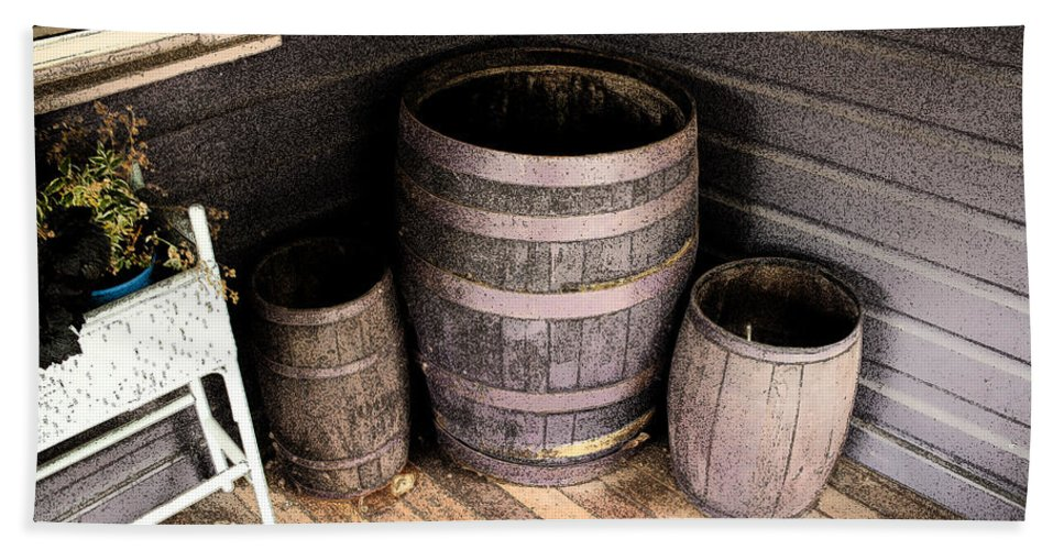 Purple Beach Towel featuring the photograph Purple Barrels by Michael Porchik