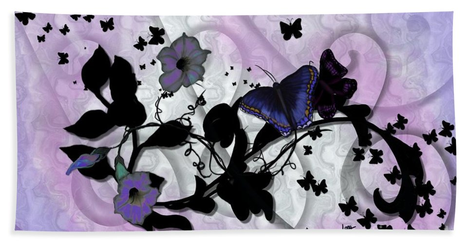 Purple Beach Towel featuring the painting Purple Butterflies by Nancy Long