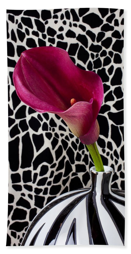 Purple Calla Lily Beach Towel featuring the photograph Purple Calla Lily by Garry Gay