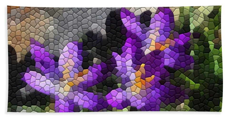Mosaic Beach Towel featuring the photograph Purple Crocus by Kathryn Meyer