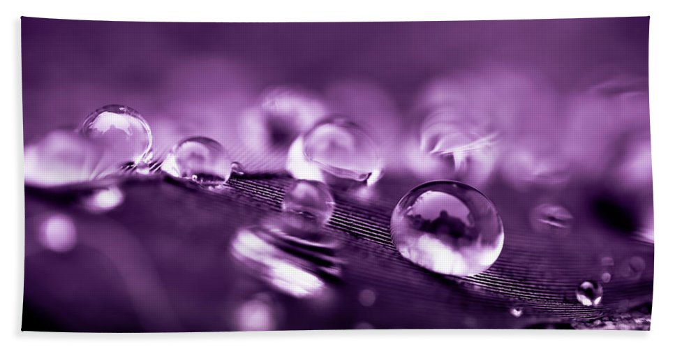 Droplets Beach Towel featuring the photograph Purple Droplets by Shane Holsclaw