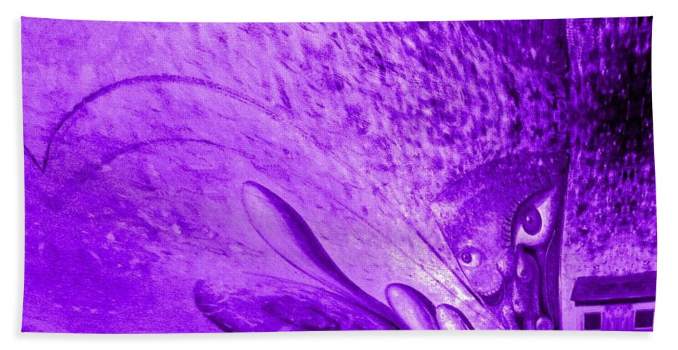 Genio Beach Towel featuring the mixed media Purple Expectations by Genio GgXpress