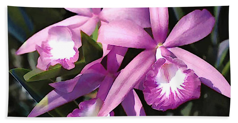 Orchid Beach Towel featuring the painting Purple Flock Of Cattleya Orchids by Elaine Plesser
